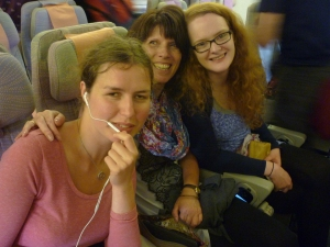 Agata, Jean & Jude on our first flight